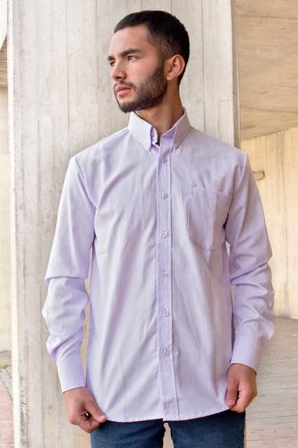 camisa oxford casual clásica hombre lila botón down