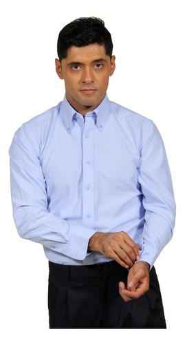 camisa oxford m/larga celeste
