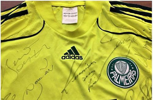 camisa palmeiras autografada elenco campeão paulista 2008