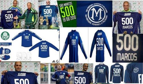 camisa palmeiras comemorativa 500 jogos do goleiro marcos