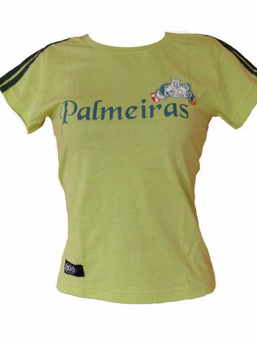 camisa palmeiras feminina baby look algodão
