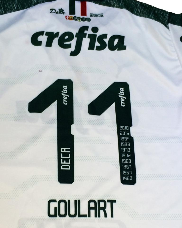 Camisa Palmeiras Goulart Nova Branca Escura 2019 Deca Br - R  29 c3163fb618844