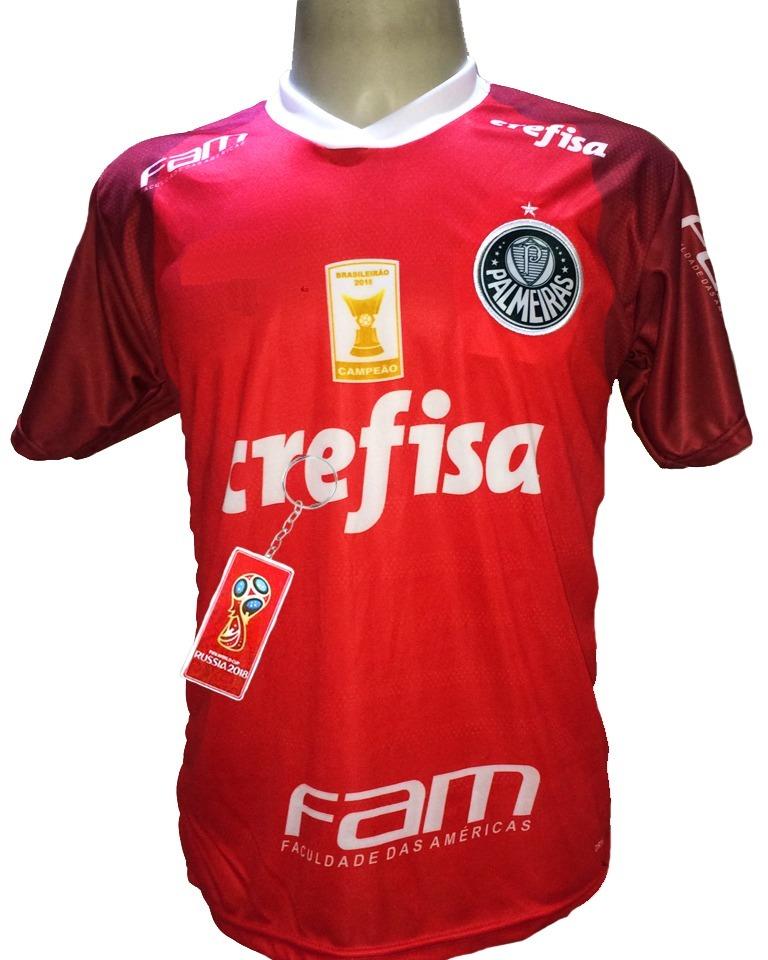 42be6e4613 Camisa Palmeiras Vermelha Goleiro 2019 Deca Campeão Br - R  29