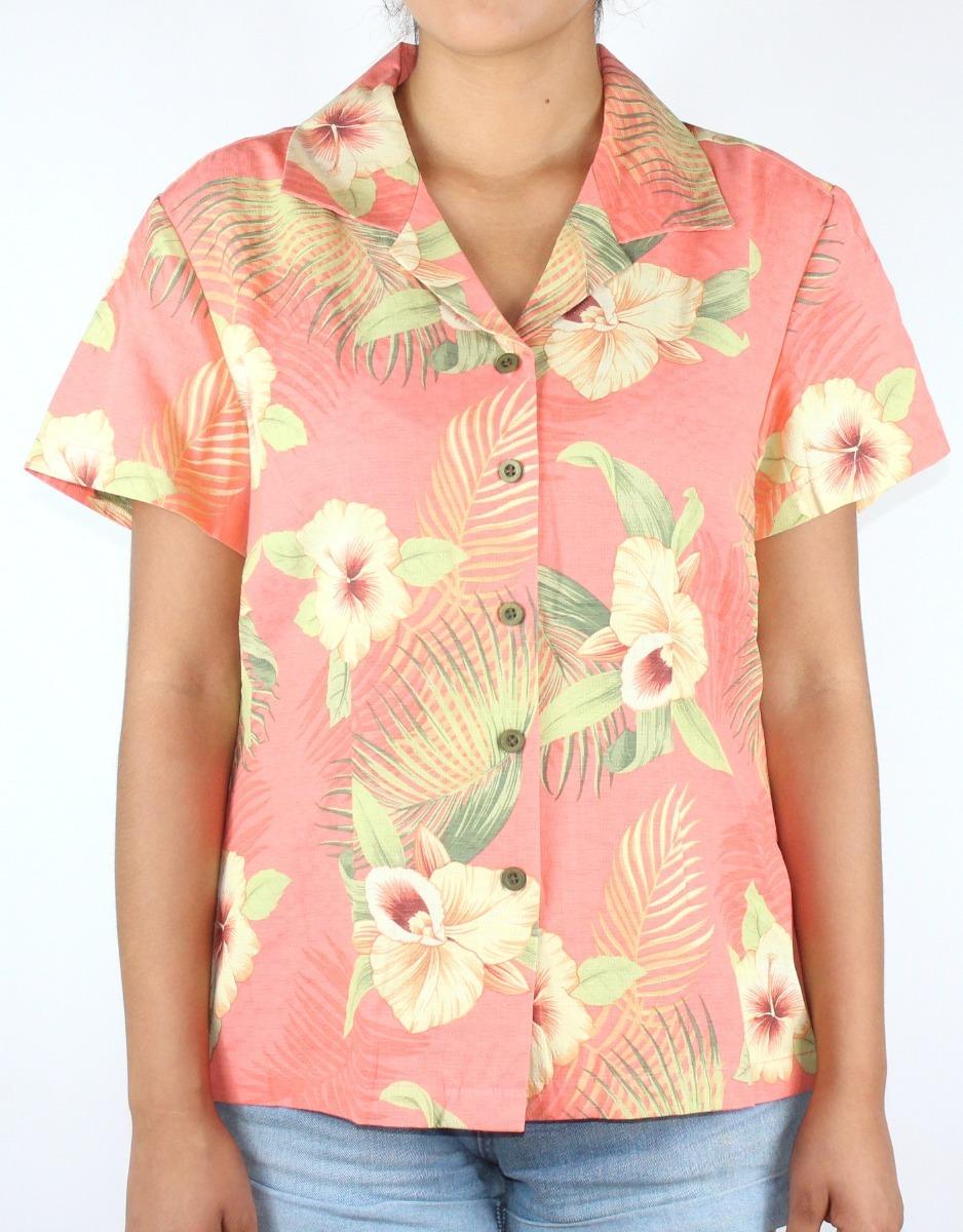 72dc28539aefb camisa para dama marca jamaica - modelo flores color coral. Cargando zoom.