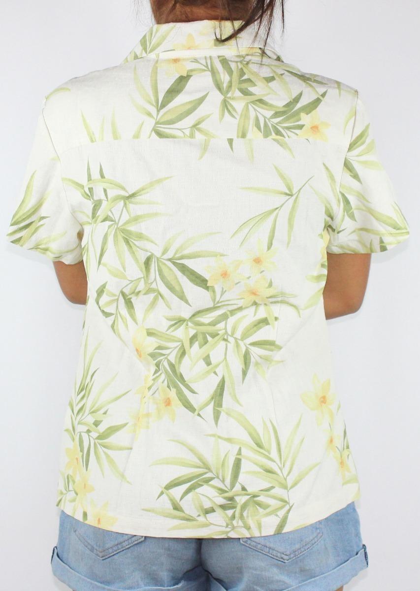 314c5e2364f4d camisa para dama marca jamaica - modelo flores color kaki. Cargando zoom.