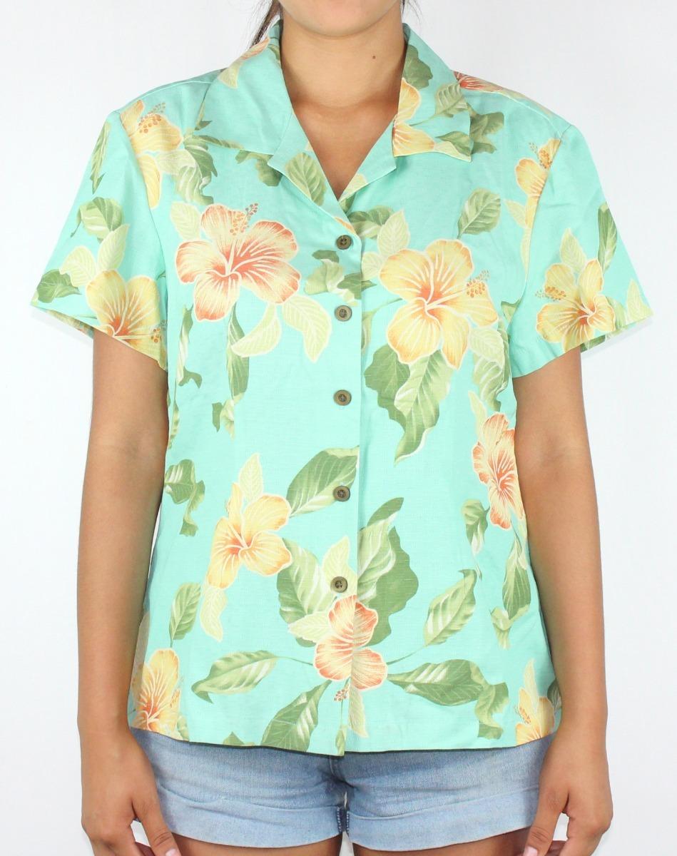 59d0f82218746 camisa para dama marca jamaica - modelo flores color verde. Cargando zoom.