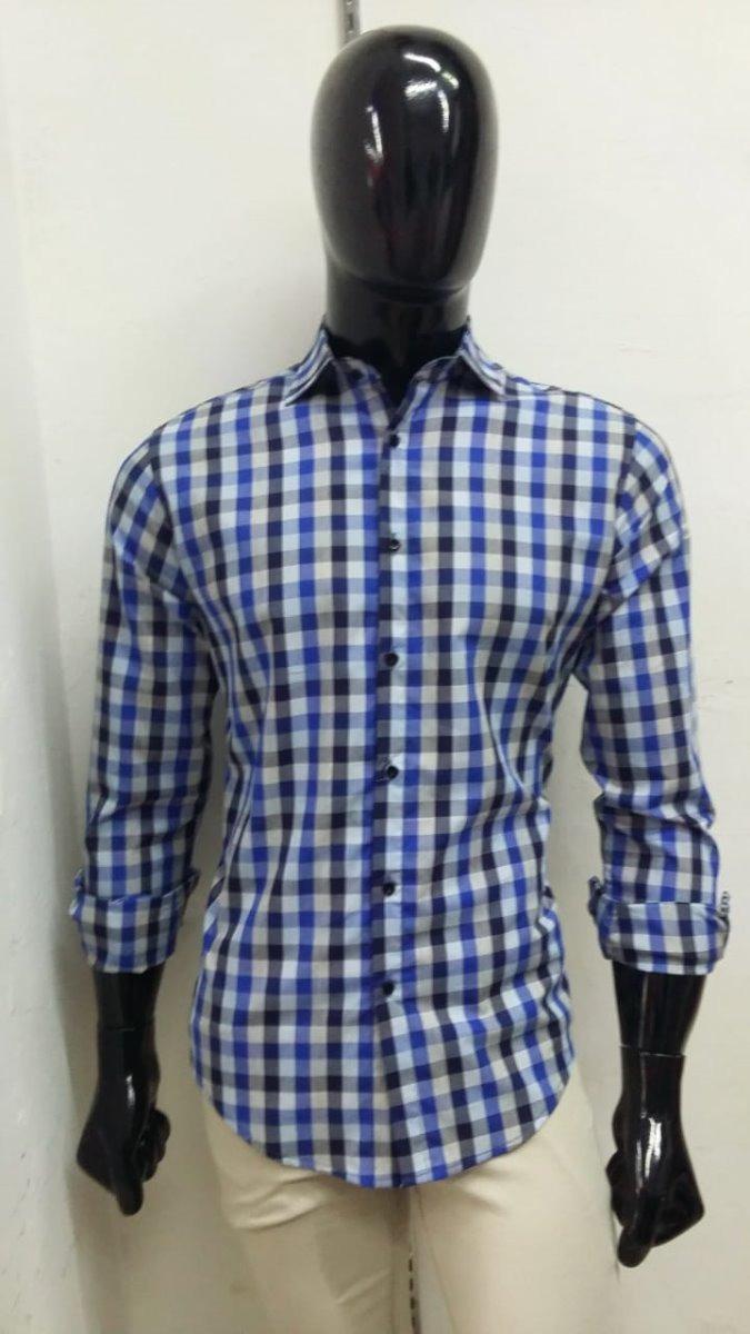 5d1d78f917c Camisa Para Hombre Cuadros Azules Y Blancos -   490.00 en Mercado Libre