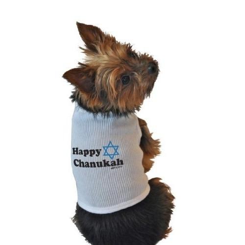 camisa para perro camisetas sin mangas, feliz janucá, blanc