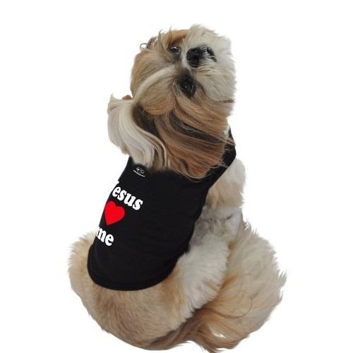 camisa para perro camisetas sin mangas, jesús me ama negro,