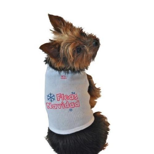 camisa para perro camisetas sin mangas, las pulgas navidad,