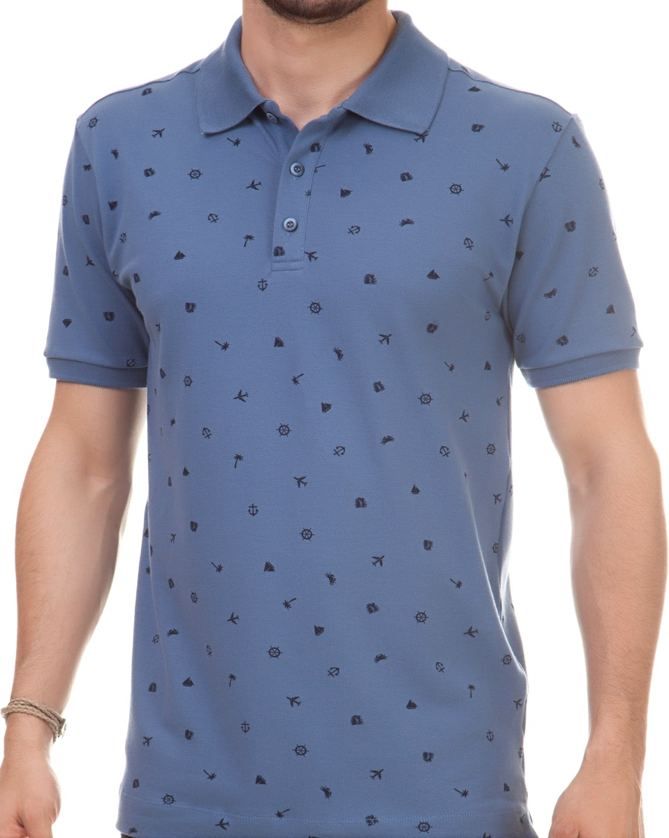 238604cb0d Camisa Pau A Pique Polo Estampada Azul Azul - Pp Pau A Pique - R  99 ...