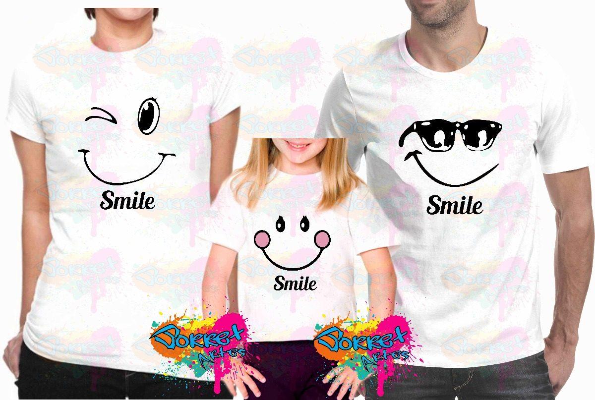 27a17affa4 camisa personalizada para família smile a3 kit 3 pçs. Carregando zoom.