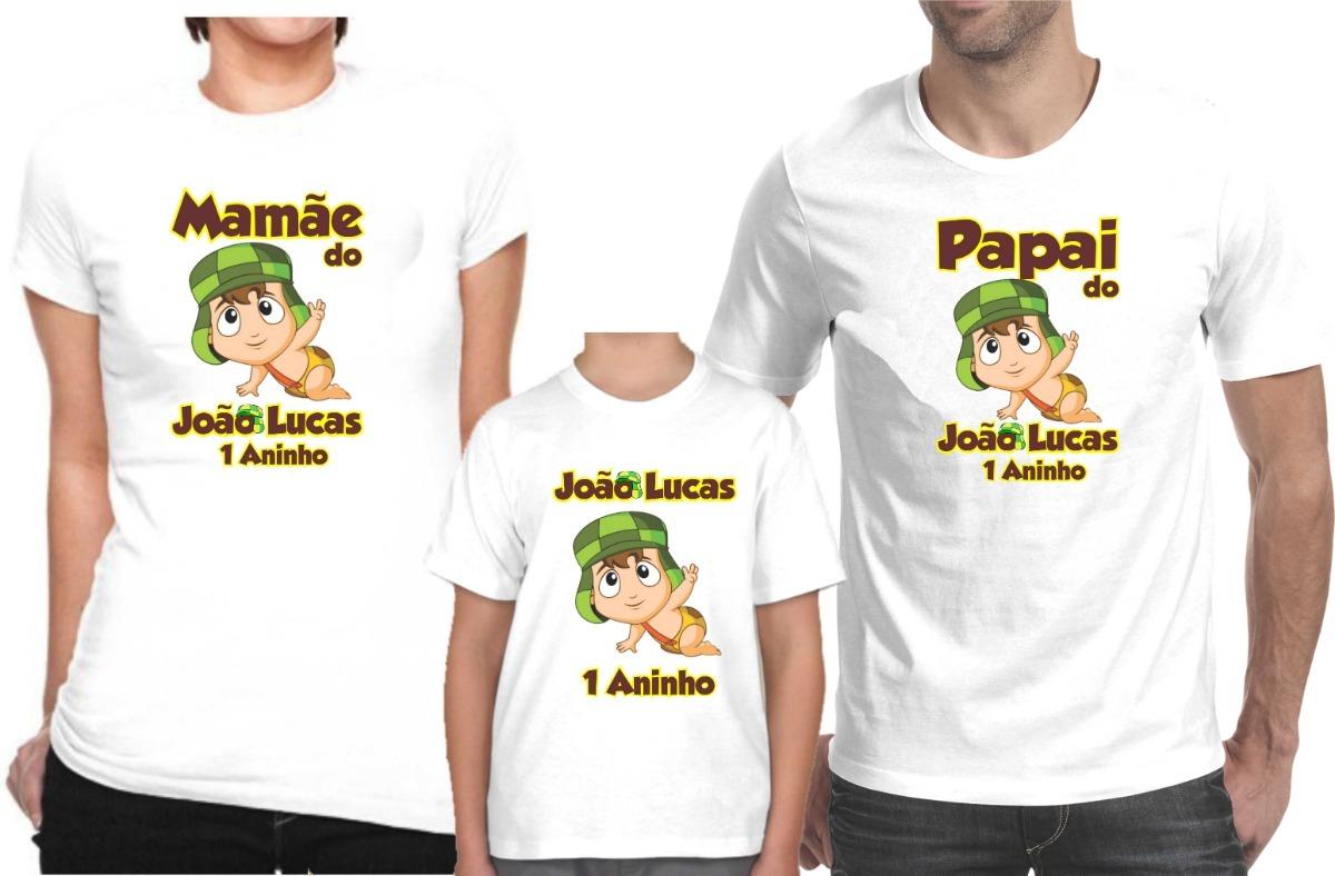 b1e7d82a9b Camisa Personalizada Para Festa Chaves A4   Kit Com 3 Peças - R  74 ...