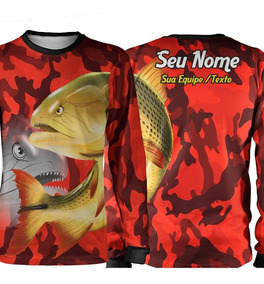 30161aba7e1fee Camisa Pesca Dourado Rei Do Rio Camuflado Uv Xg Personalize