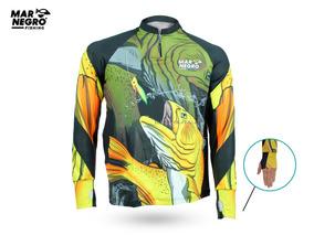 3573beae120521 Camisa Pesca Proteção Solar 50+ Uv Dry Fit Mar Negro Dourado