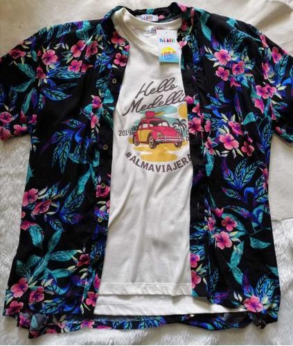 camisa playera de flores-negra, manga corta