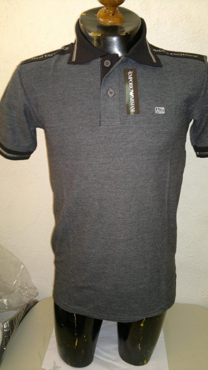 camisa playera tipo polo armani exchance gris con negro. Cargando zoom. c3e322ef8a947