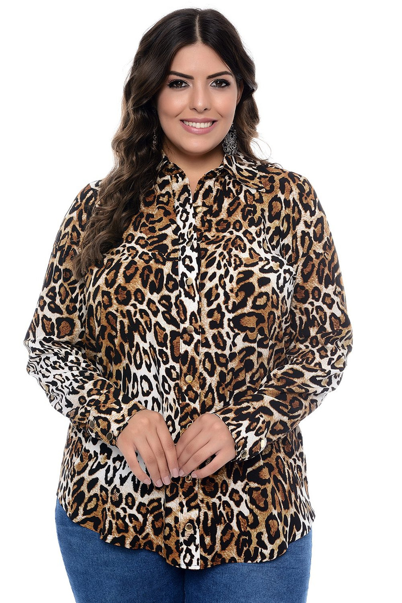 7c31b7e61 Camisa Plus Size Em Viscose Animal Print - R$ 306,82 em Mercado Livre