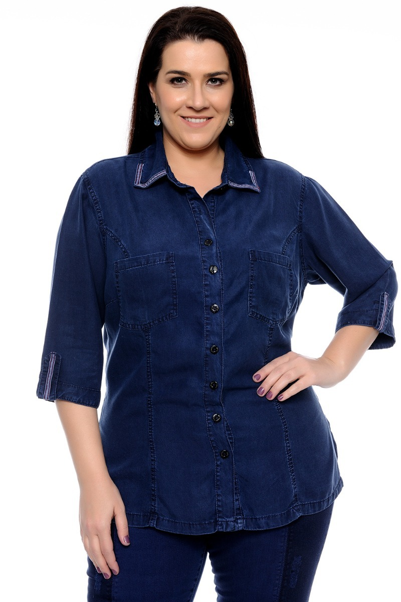 784d8804f911 camisa plus size feminina jeans 100% liocel social manga 3/4. Carregando  zoom.
