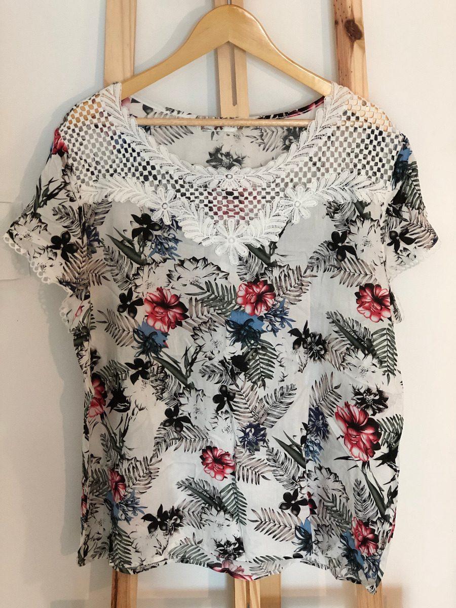 5b2921f1d Camisa Plus Size   Viscose Branca C  Renda Branca - Feminina - R  49 ...