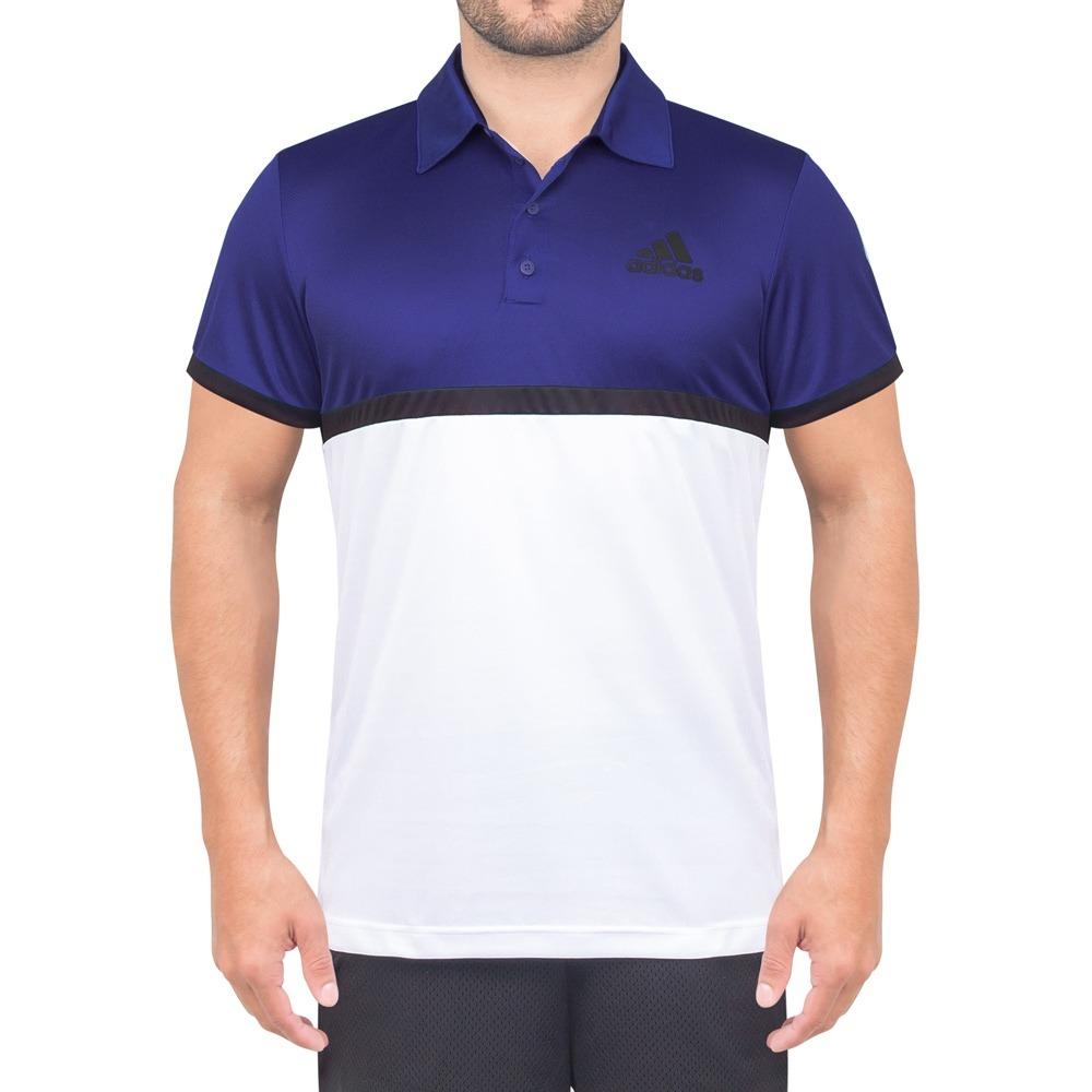 camisa polo adidas court azul branca e preta. Carregando zoom. 7f6ffba35fe34