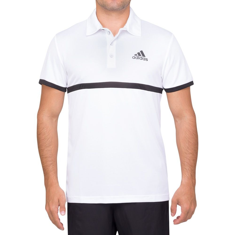 5215eb203d camisa polo adidas court branca e preta. Carregando zoom.