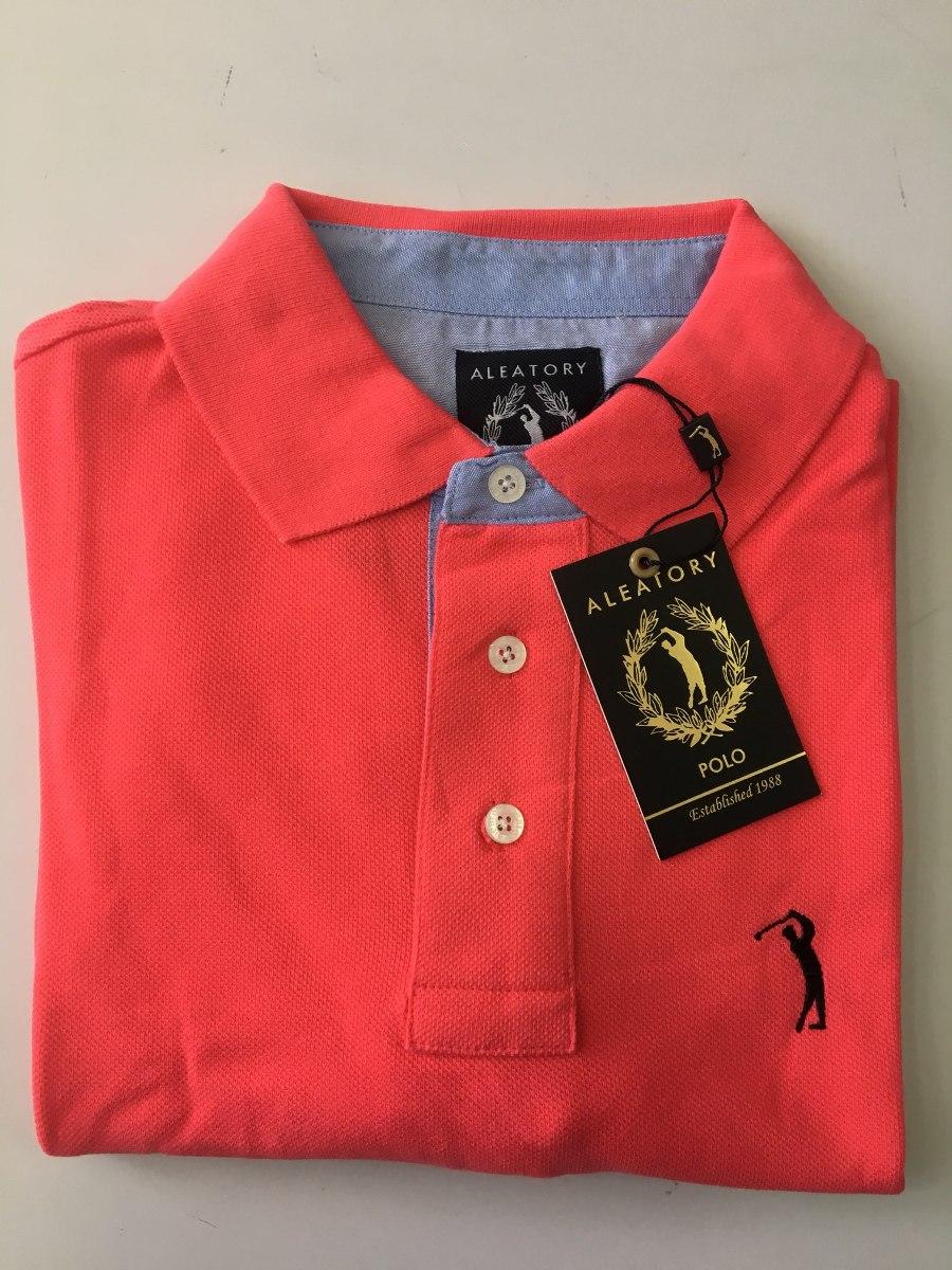 camisa polo aleatory piquet original lisa masculina rosa. Carregando zoom. 36efe7470e69c
