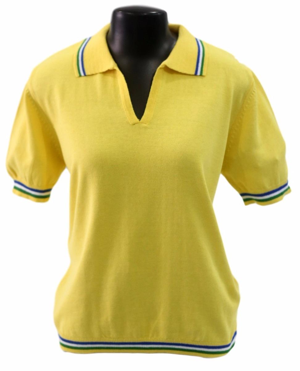 ee079221720fa camisa polo amarela brasil feminina malharia romano. Carregando zoom.
