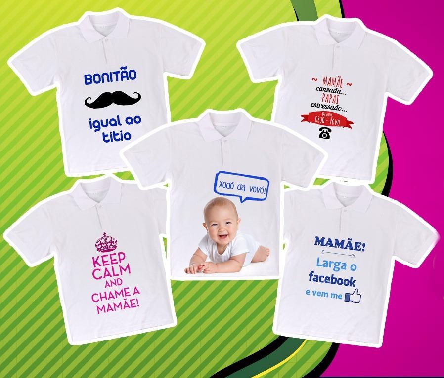 4caf39881ce9b Camisa Polo Baby Personalizada Com Sua Estampa Foto Frase - R  24