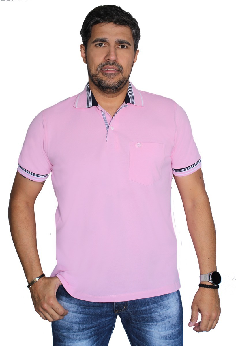 fc967275a4a73 Camisa Polo Bolso Pp P M G Gg Piquet Com Elastano Zambelê - R  70