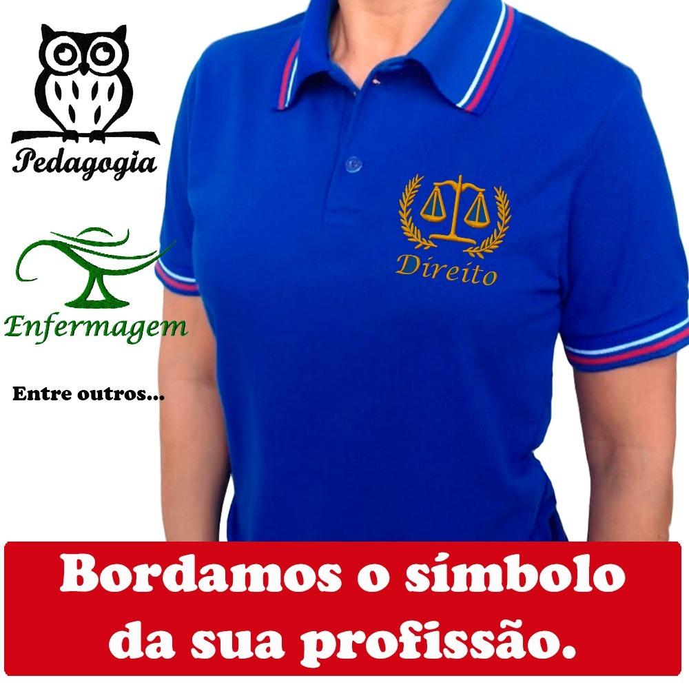 59e32106243bc camisa polo bordada simbolo profissional uniforme. direito.. Carregando zoom .