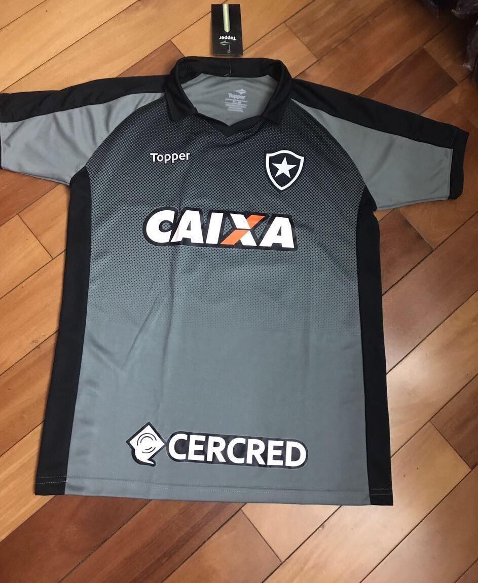 c5a67f5267 Camisa Polo Botafogo Topper Preto E Chumbo Promoção - R  95