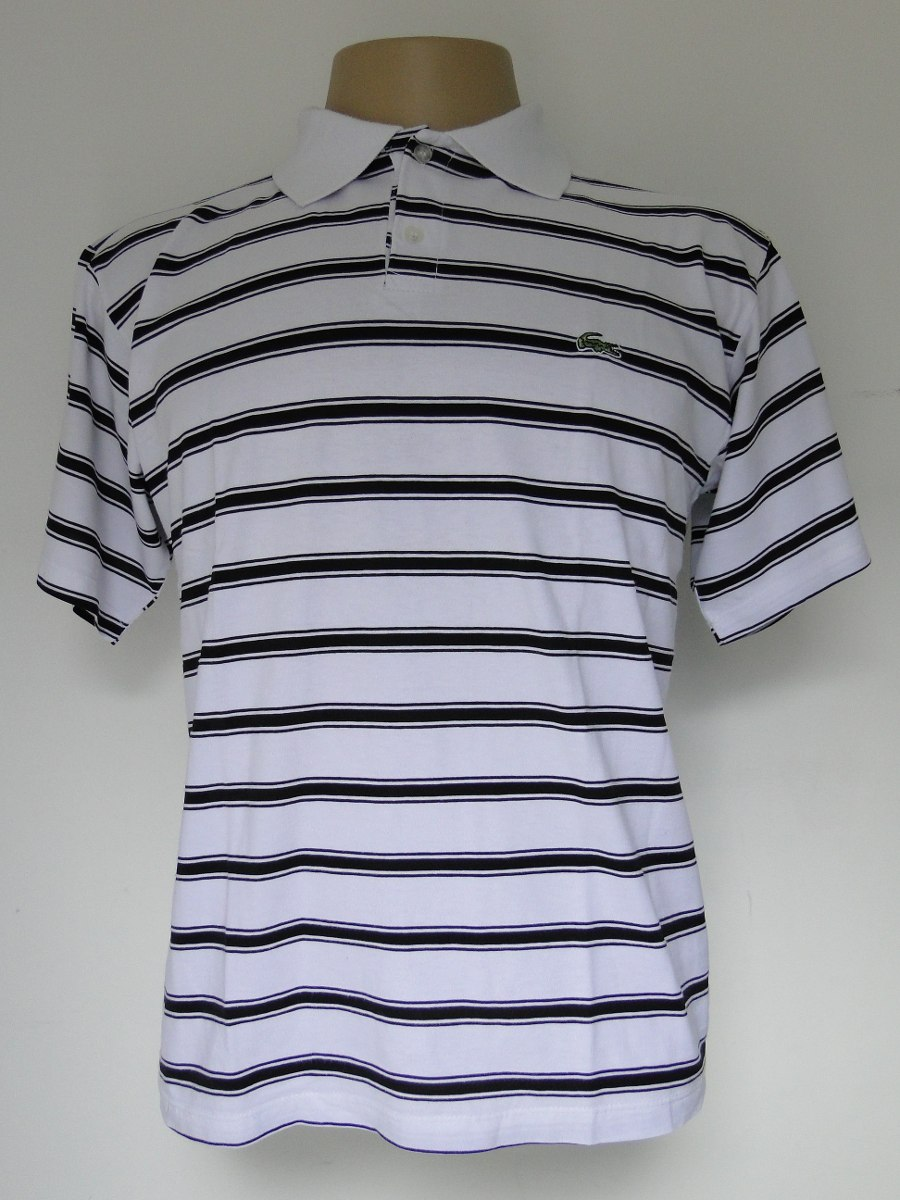 Camisa Pólo - Branca C  Listras Pretas - Lacoste (m) - R  35,00 em ... 71ca24ff30
