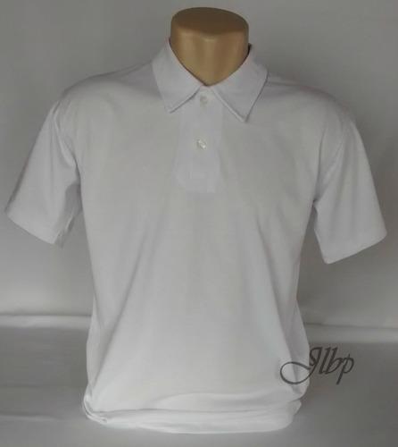 camisa polo branca  lisa malha 100% algodão fio 30.1