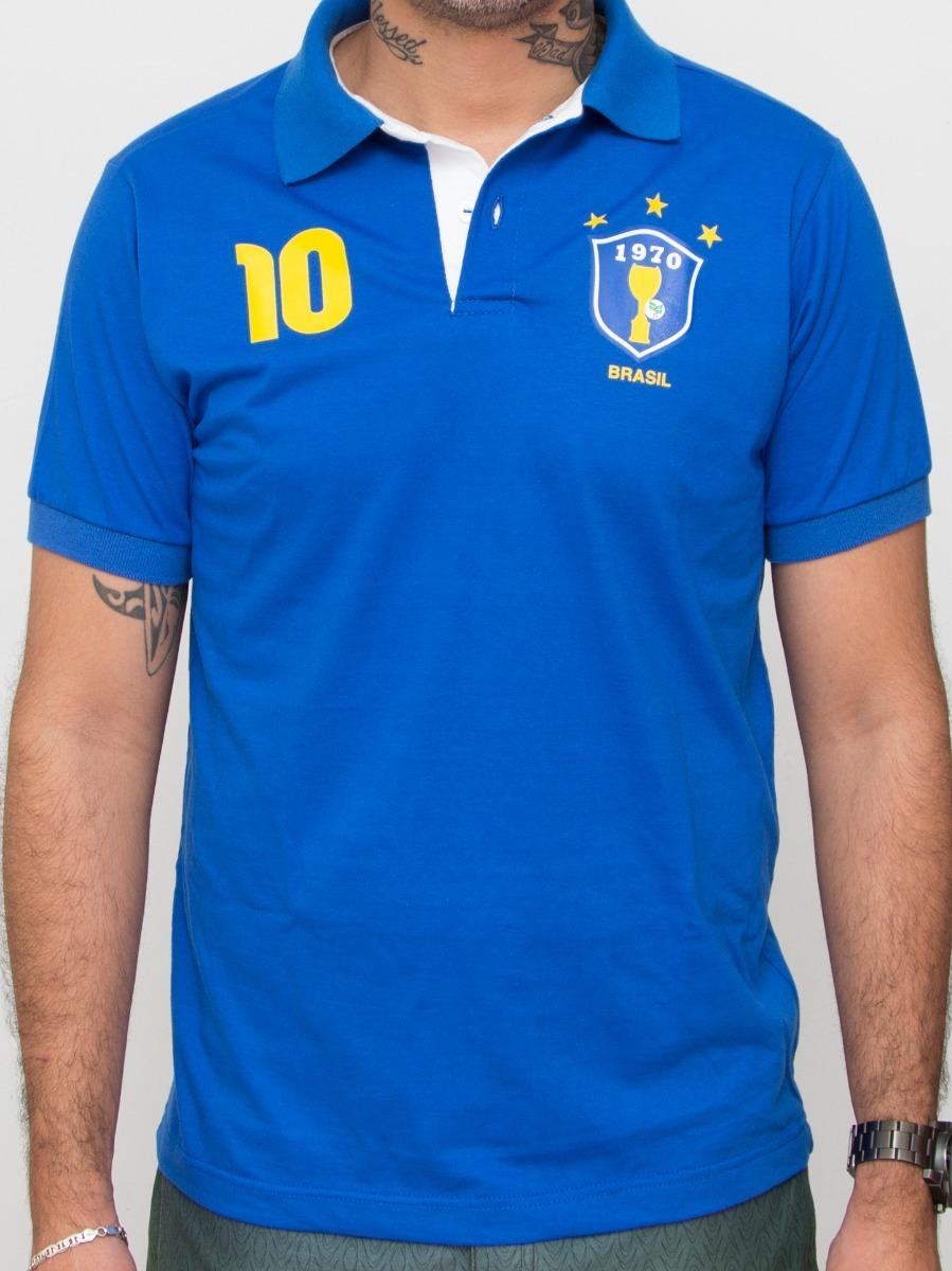 3e0214d39d camisa polo brasil azul 1970 algodão. Carregando zoom.