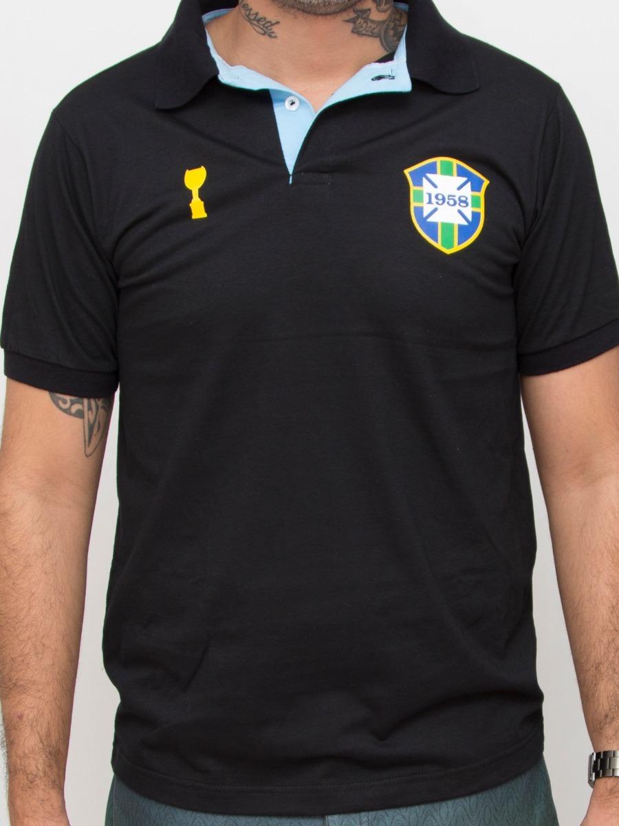 c208a293c7 camisa polo brasil preta 1958 algodão. Carregando zoom.