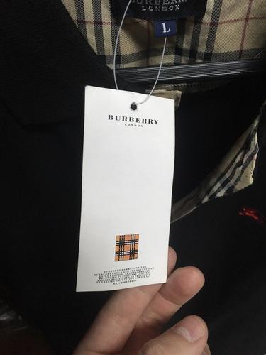 camisa polo burberry negra large con etiquetas original