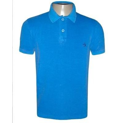c98d9286e Camisa Polo Calvin Klein Camiseta Ck Azul - R  97