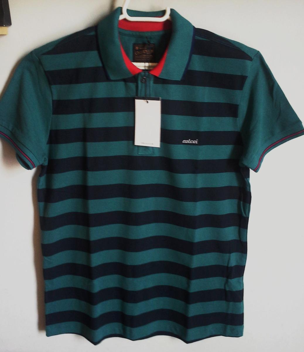 Camisa Polo Colcci Masculina Em Listras Verde Tm M   G - R  250 3e9577f3825