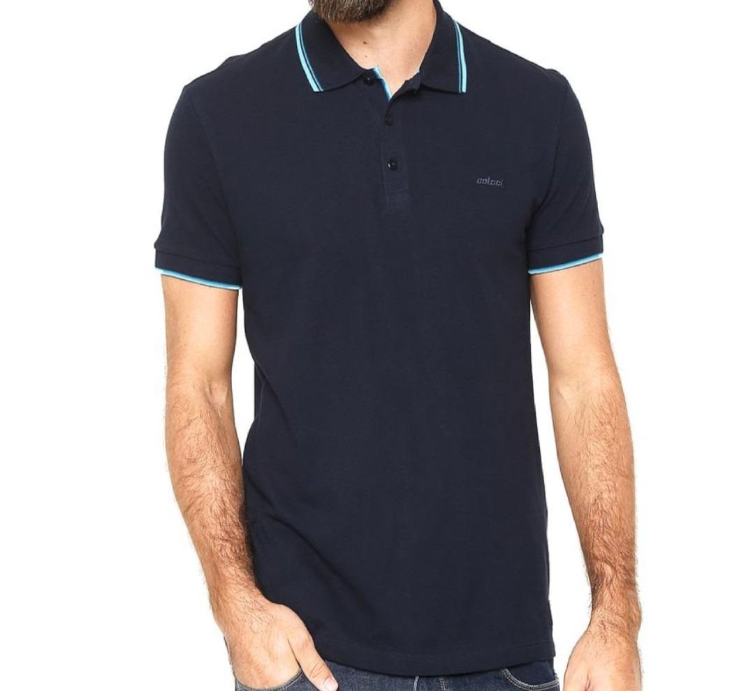 8ff1e86d7 Camisa Polo Colcci Reta Brasil Azul-marinho Original + Nf - R$ 168 ...