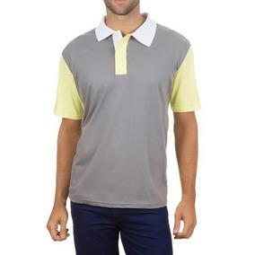 ecad041157 Camisa Polo Colombo Masculina Cinza Com Mangas Amarelas 3262