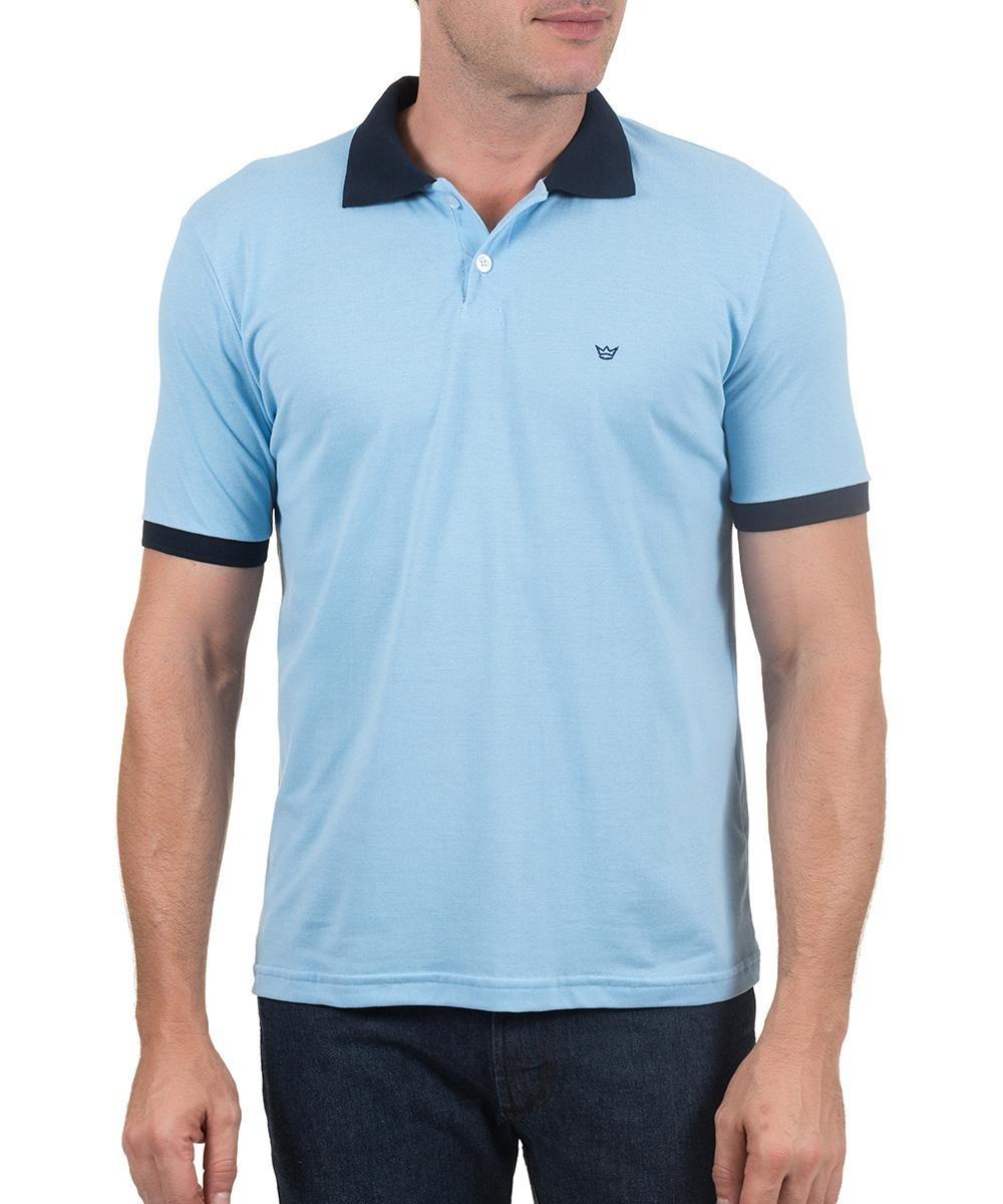 camisa polo colombo masculina com detalhe azul lisa. Carregando zoom. f139beeaebae0