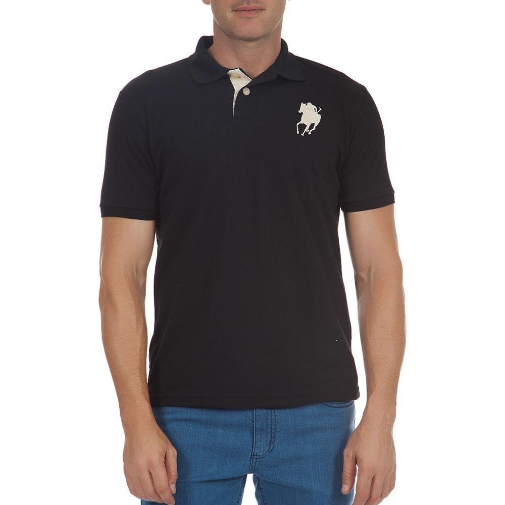 8d808546bf camisa polo colombo masculina preta lisa com bordado. Carregando zoom.