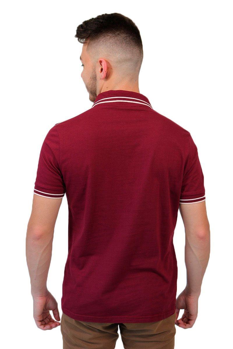 7dc2b95cfa camisa polo com bolsinho e detalhes bordô baiki badhai. Carregando zoom.