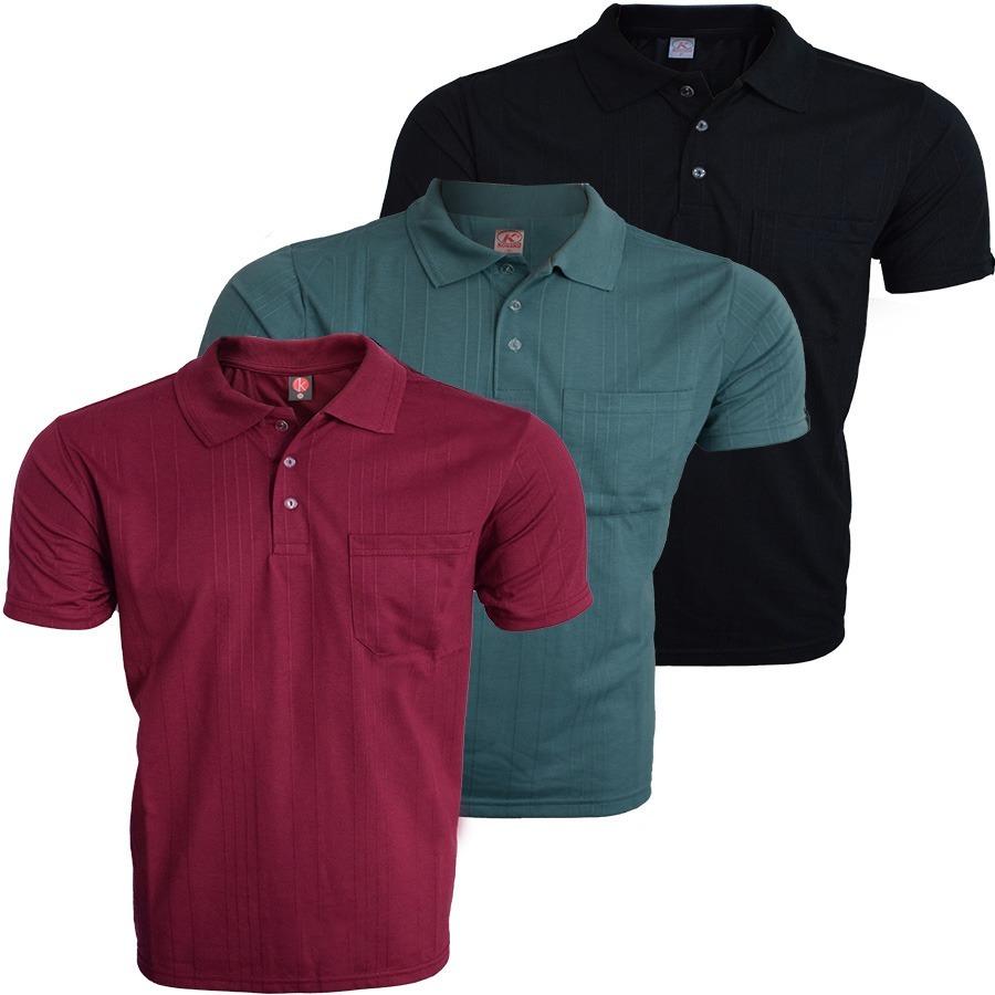 Camisa Polo Com Bolso Poliester E Viscose Kit 3 Peças - R  126 2ec00d17b7028