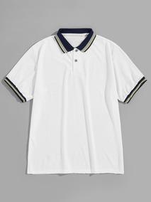 b1e7e45cfb Camisa Polo De Hombres Con Ribete De Rayas En Contraste