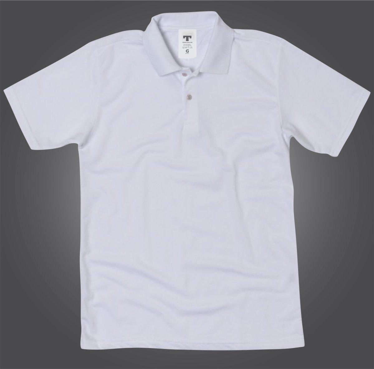 camisa pólo de malha branca masculino e feminina baby look. Carregando zoom. 01731797a66bc