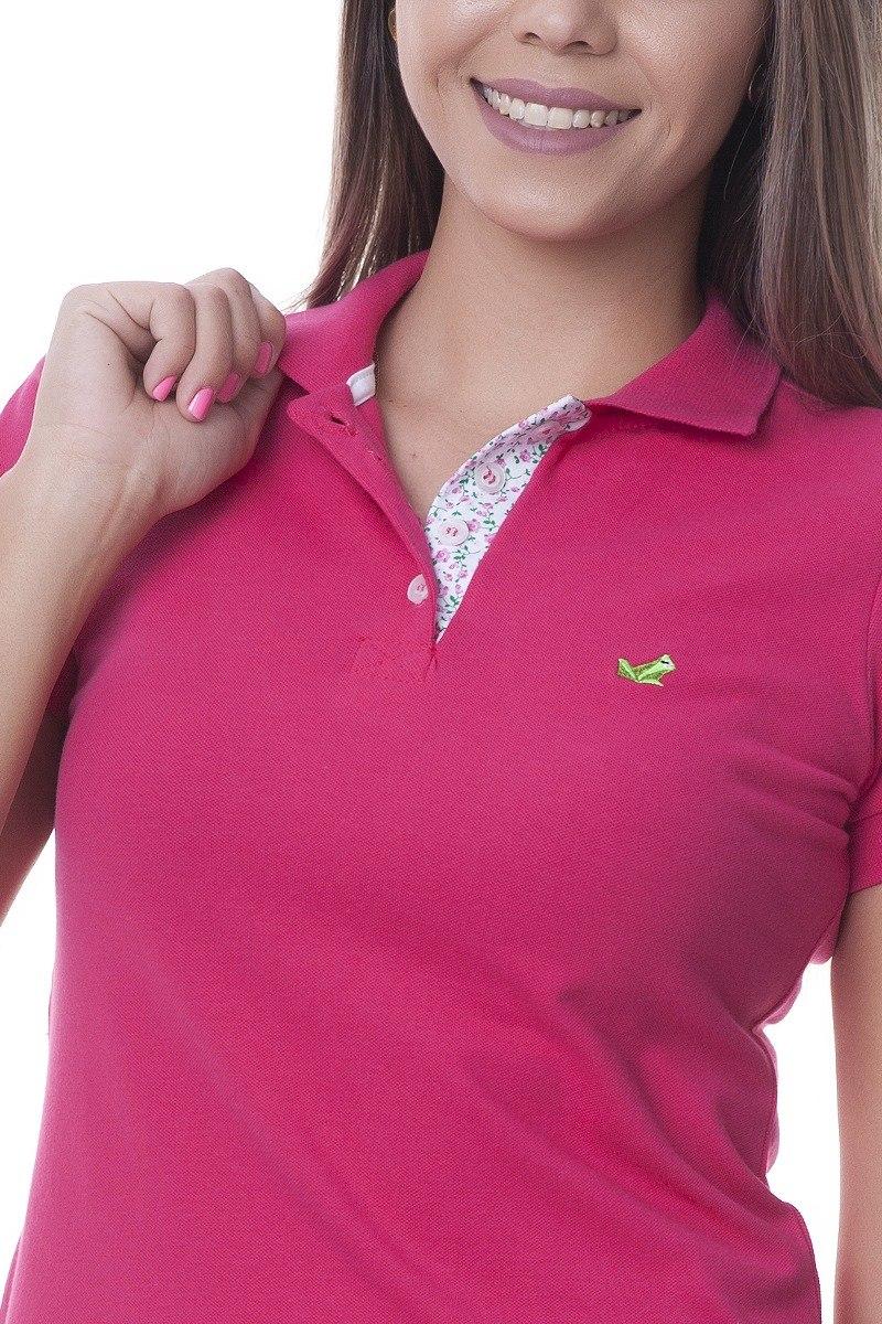 92135c91603d8 camisa polo detalhe floral feminina lisa rosa pink. Carregando zoom.