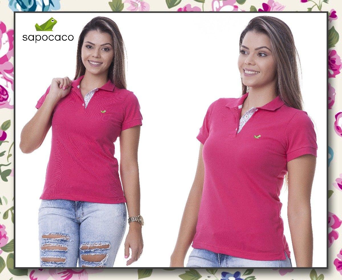 8398b2eb4a camisa polo detalhe floral feminina lisa rosa pink. Carregando zoom.