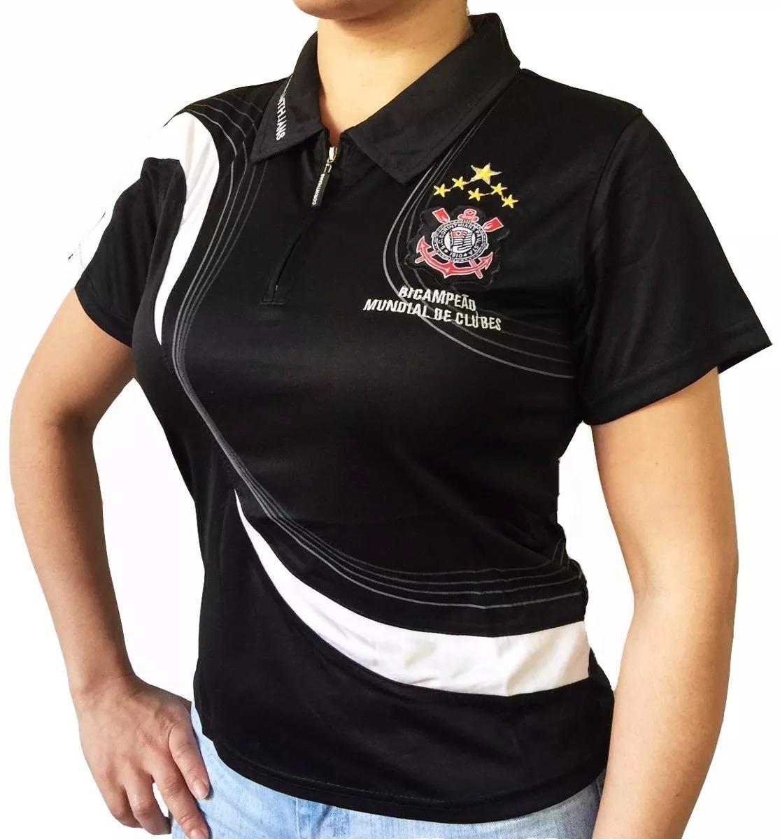 Camisa Polo Do Corinthians Baby Look Feminina Oficial - R  52 da3676759d985